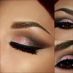 Pink Glitter and Dark Brown Eye Makeup - Winged Eyeliner - Lashes - Valentines Day