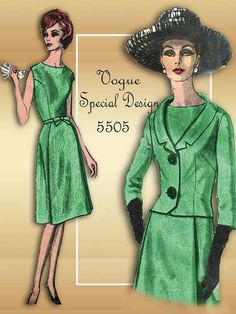 1950s Dress Pattern Vintage Vogue Special Design 5505 High Fashion Sophisticated One Piece Dress with Jacket