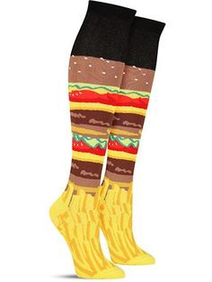 Funny Burger and Fries food knee high socks for women