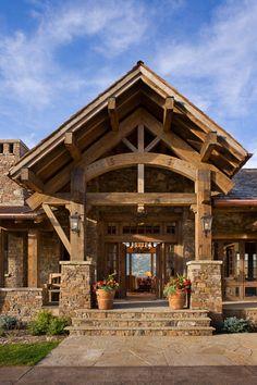 wood beam home entance