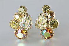 Aurora borealis Yellow Rhinestone Weiss Earrings, autumn leaf molded glass clip on 1960s jewelry
