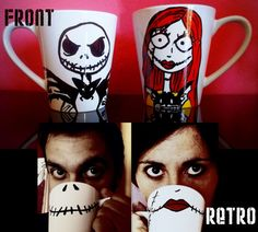 Sally & Jack The Nightmare Before Christmas Painted Coffee Mugs (Inspiration Only. No Pattern or Instructions.)