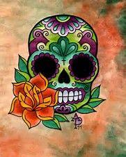 Image result for Sugar Skull Roses Tattoo Design