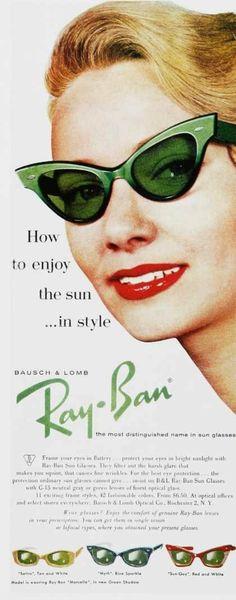 Gafas de sol Ray-Ban de los 60.  Aunque la marca cumple 75 años, las gafas de sol son mucho más antiguas. Conoce su historia. http://bit.ly/Ldzo7k