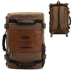 KAUKKO Men's Multifunctional Canvas Backpack