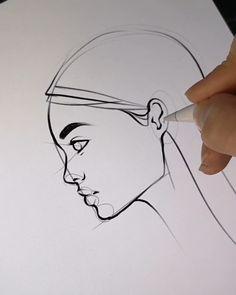Drawing Tips Nature Eye Drawing Tutorials, Drawing Tips, Art Tutorials, Drawing Ideas, Drawing Hands, Side Face Drawing, Male Drawing, Mouth Drawing, Contour Drawing