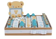 Patchi's Picture Perfect (Blue) Chocolate arrangement. A unique and customizable treat that will delight visitors of the baby or guests of a baby shower!