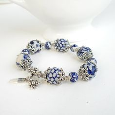 Delft blue bracelet with handpainted ceramic beads