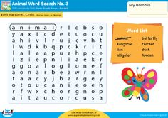 Animals word search puzzle for kids from Super Simple Learning. Great for #kindergarten, early elementary and #ESL.