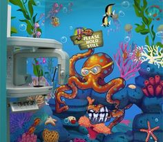 Custom Mural for Dentist by Imagination Dental Solutions Dental Office Design, Dental Offices, Office Designs, Office Ideas, Childrens Dentist, Dental Kids, Children's Clinic, Ocean Mural, Dental Images