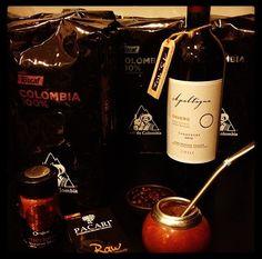 Toscaf Cafe de Colombia 100% Arabica; Apaltagua Envero Carmenére Wine, Chile; PACARI chocolate, Ecuador