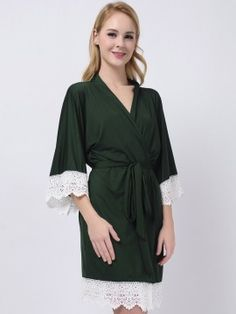 Forest Green Jersey Cotton Bridesmaid Robes With Lace Bridesmaid Pyjamas, Bridesmaid Dresses, Bridesmaids, Inexpensive Wedding Gifts, Cheap Wedding Gifts, Cheap Bridesmaid Gifts, Bridal Party Robes, Kimono Fashion