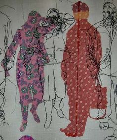 58 Super Ideas For Fashion Art Gcse Textile Artists Textile Fiber Art, Textile Artists, Fine Art Textiles, Sketchbook Inspiration, Art Sketchbook, Rosie James, Impression Textile, Stitch Drawing, Outline Art