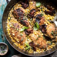 You searched for Garlic butter creamed corn chicken - Half Baked Harvest Corn Chicken, Butter Chicken, Skillet Chicken, Garlic Chicken, Creamed Corn, Half Baked Harvest, Cooking Recipes, Healthy Recipes, Garlic Butter