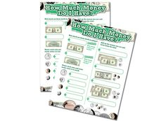 Counting money can be fun with these laminated sheets. Money Worksheets, Counting Money, Student Gifts, Organizer, Homework, Homeschooling, School Ideas, Back To School, Teacher