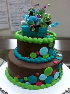 Josh's Cake - Brown Teal Lime Green and Pink Cascading Dots, Chocolate Buttercream