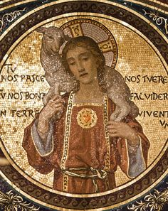 Detail of a mosaic in San Lorenzo fuori le mura in Rome of Christ the Good Shepherd, combined with an image of the Sacred Heart.