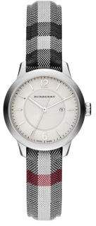 Diamond, Stainless Steel & Leather Strap Watch