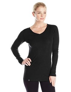 Ibex Merino Wool Womens Woolies 1 Long Sleeve VNeck Base Layer Top Black Small ** You can find out more details at the link of the image.(This is an Amazon affiliate link and I receive a commission for the sales)