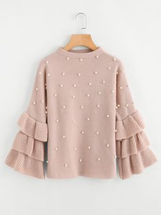 Pearl Beaded Layered Ruffle Sleeve Jumper -SheIn(Sheinside) Source by taylor_divine_slager clothes Hijab Fashion, Fashion Outfits, Womens Fashion, Fashion Fall, Fashion Clothes, Fall Outfits, Cute Outfits, Hijab Styles, Pink Sweater