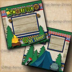 BOY or CUB SCOUTS 2 premade scrapbook pages paper layout scrapbooking DIGISCRAP Scrapbook Templates, Scrapbook Page Layouts, Scrapbook Pages, Scrapbooking Ideas, Birthday Scrapbook, Baby Scrapbook, Cub Scout Crafts, Cub Scouts, Girl Scouts