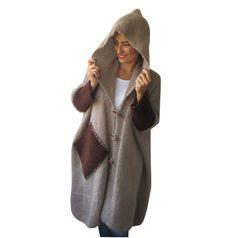 Plus tamaño por tamaño Mohair Beige abrigo Poncho por afra