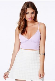 The ultra sultry tactile Emmelie Crepe #Bralet In #Lilac is the perfect piece for rocking the pastel trend this season. The longline shape adds extra style points to this #sexy top creating a 90's style waistline. Teamed with everything from jeans to mini skirts, this bralet is sure to look immaculate.--- WANT