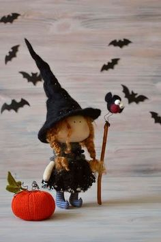 Little Witch Una-Kitchen Witch-Handmade Doll-Textile Doll-Fabric Doll-Rag Doll-Home Decoration-Halloween Decoration-Halloween Gift