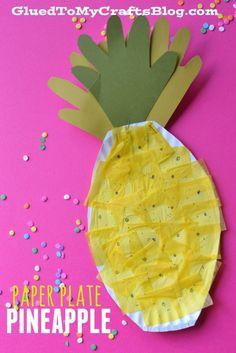 Paper Plate Pineapple {Kid Craft} kids crafts, kids crafts diy #diy