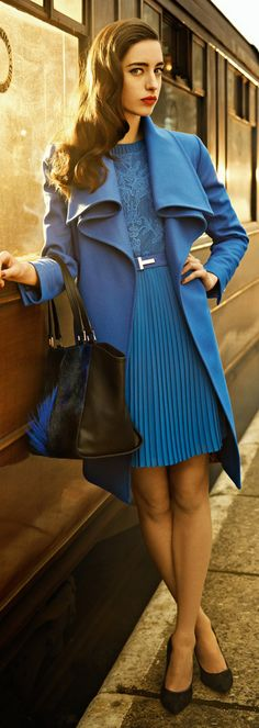 ~Meet The  GIrls As They Arrive King's Cross Railway Station In Your Ted Baker London Fall 2013 Drape Collar Belted Coat & Pleated Lace A-Line Dress | The House of Beccaria