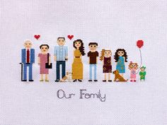 Lovely and funny personalized hand made cross stiched family portraits make…