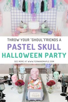 "This pretty pastel skull Halloween party is perfect for you and your girlfriends - or ""ghoul""friends! Get all of the ideas for backdrop, cake table, DIY centerpiece, place settings and more at fernandmaple.com!"