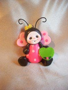 ladybug cake topper Christmas ornament personalized childrens gift. $17.95, via Etsy.