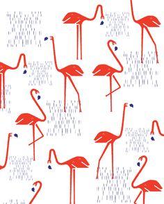 Flamingos Art Print by Bea R Vaquero