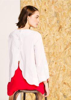 e26fed8931df1 Tara Jarmon PE 2016 - Blouse en popeline blanche boutonnée dans le dos