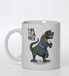 mr Tea Rex Ceramic Mug #mugfunny  #coffeemug #geekyteamug #messagemug #funnymug