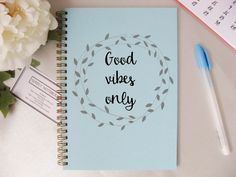 Quote print Notebook Good Vibes A5 Simple by SimplyNotebooks