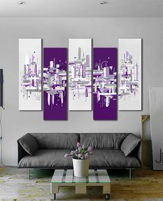 Original abstract painting. 41x64 Purple painting 5 by JoDiquez