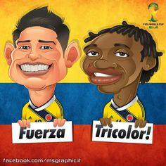 ¡¡¡JAMES RODRIGUEZ YJ CUADRADO!!! Lionel Messi, Colombian Art, James Rodriguez, Fifa World Cup, Soccer Players, Art World, Ronald Mcdonald, Chibi, Animation
