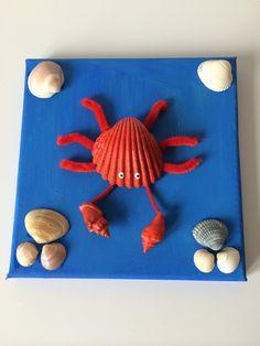 Krab van schelpen op schilderij