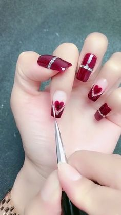 Simple nails art design video Tutorials Compilation Part 144 - Christmas nails Nail Art Designs Videos, Simple Nail Art Designs, Short Nail Designs, Easy Nail Art, Art Simple, Simple Diy, Matte Nails, Diy Nails, Acrylic Nails