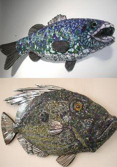 mosaic paper mache fish by  mosaic and papier mache artist Steve Glyn