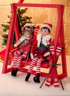 Elf on the Shelf Idea: Elves Skiing