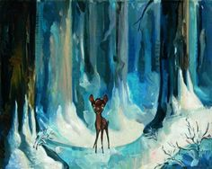 Bambi Art Jim Salvati Limited Edition Giclee on Canvas Alone in the Woods - Bambi