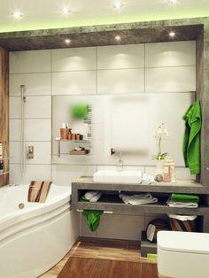 frisches baddesigns - leischte beleuchtungen und grüne elemente - 77 Badezimmer-Ideen für jeden Geschmack