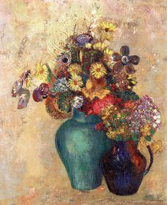 Two Vases of Flowers Odilon Redon - circa 1905