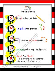 Math Mnemonics- Math CUBES Problem Solving Steps product from A_Teachers_Idea on TeachersNotebook.com