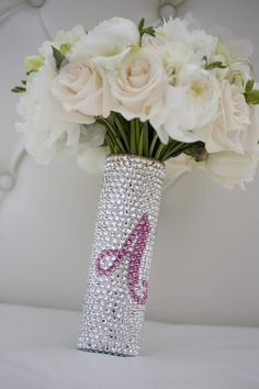 I want this as my bouquet holder with my initial D  ....  Custom Swarovski Crystal Bridal Bouquet Jeweled Handle - Ultimate Bouquet Jewelry - Wedding Blingvia Etsy.