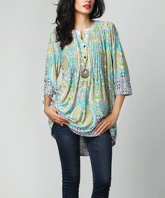 Love this Turquoise Paisley Notch Neck Pin Tuck Tunic on #zulily! #zulilyfinds