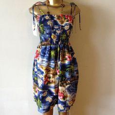 Hawaiian print sun dress Cute hot Hawaiian print sun dress Dresses Mini